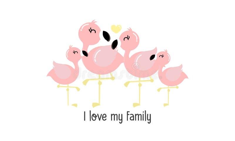 Leuke roze flamingofamilie royalty-vrije illustratie
