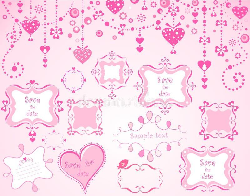 Leuke roze kaders stock illustratie