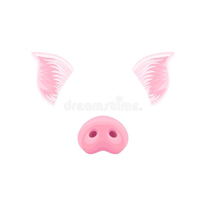 Leuke roze varkenss oren en neus Grappig masker van binnenlands landbouwbedrijfdier Gedetailleerd vlak vectorontwerp voor sticker royalty-vrije illustratie