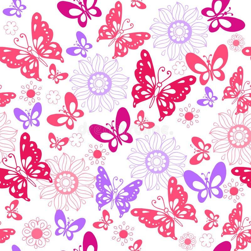 Leuke roze vlinders op een witte achtergrond Naadloos patroon van royalty-vrije illustratie