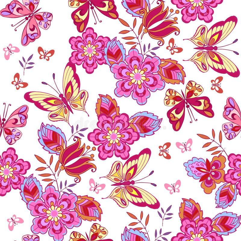 Leuke roze vlinders op een witte achtergrond Naadloos patroon van bloemen en vlinders Decoratieve ornamentachtergrond voor stof, stock illustratie