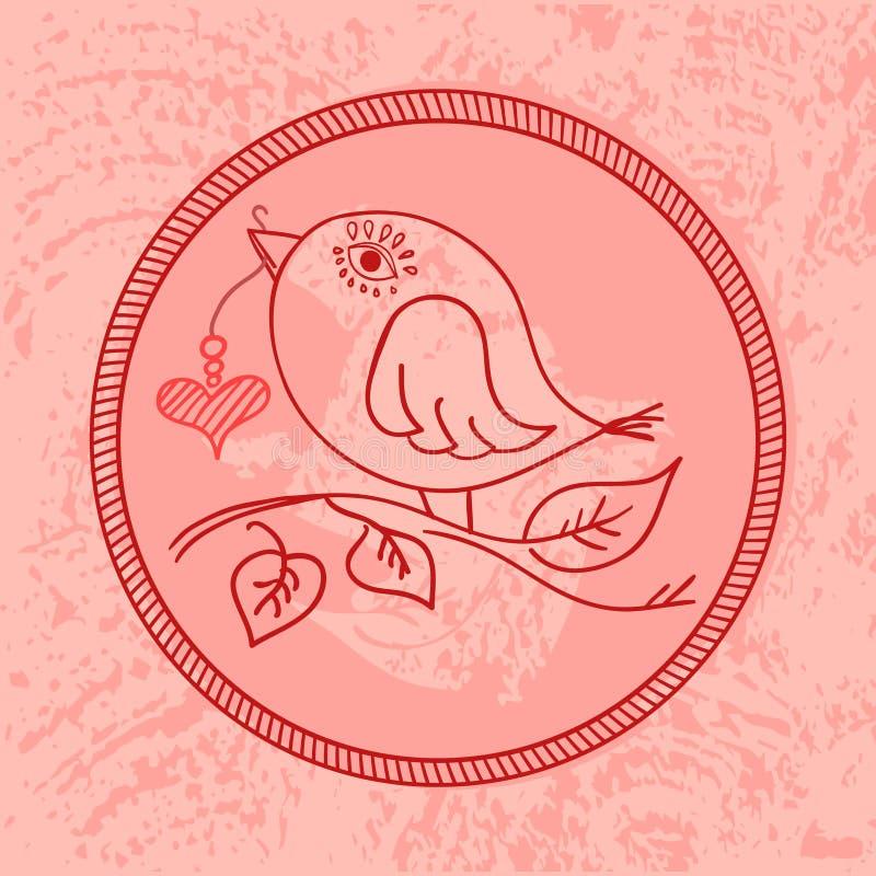 Leuke roze vogel met een hart op een koord in zijn bek royalty-vrije stock foto's