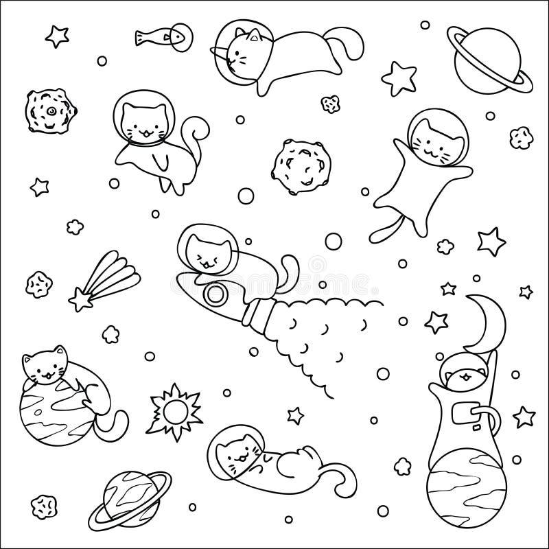 Leuke Ruimtekatten die met sterren en raketontwerp spelen voor behangkunst en kleurende boekpagina Vector illustratie vector illustratie