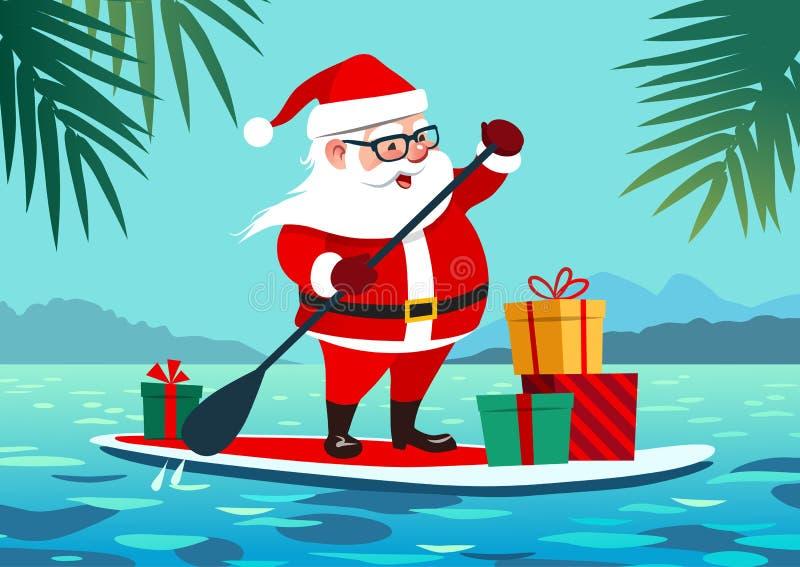 Leuke Santa Claus op peddelraad met giften tegen tropische oce stock illustratie