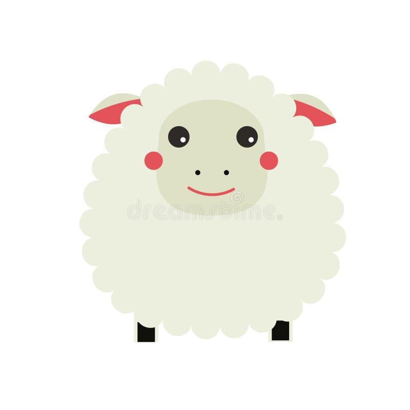 Leuke schapen cahracter Lam Kinderenstijl, geïsoleerd ontwerpelement, vectorillustratie vector illustratie