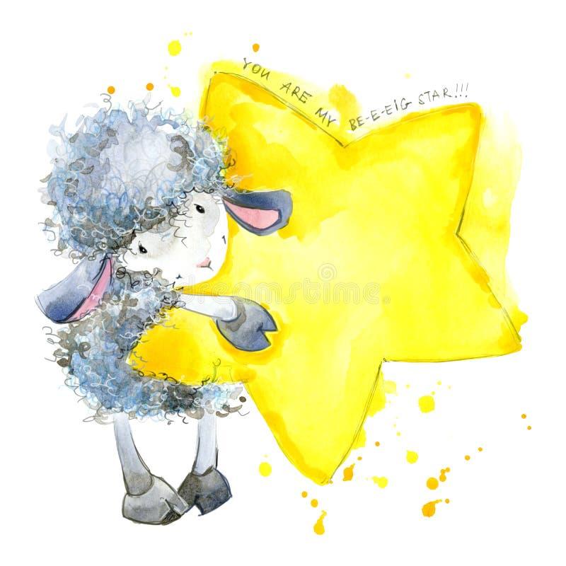 Leuke schapen De illustratie van de waterverf Het ontwerp van de schapent-shirt Schapen en Sterrenachtergrond stock illustratie