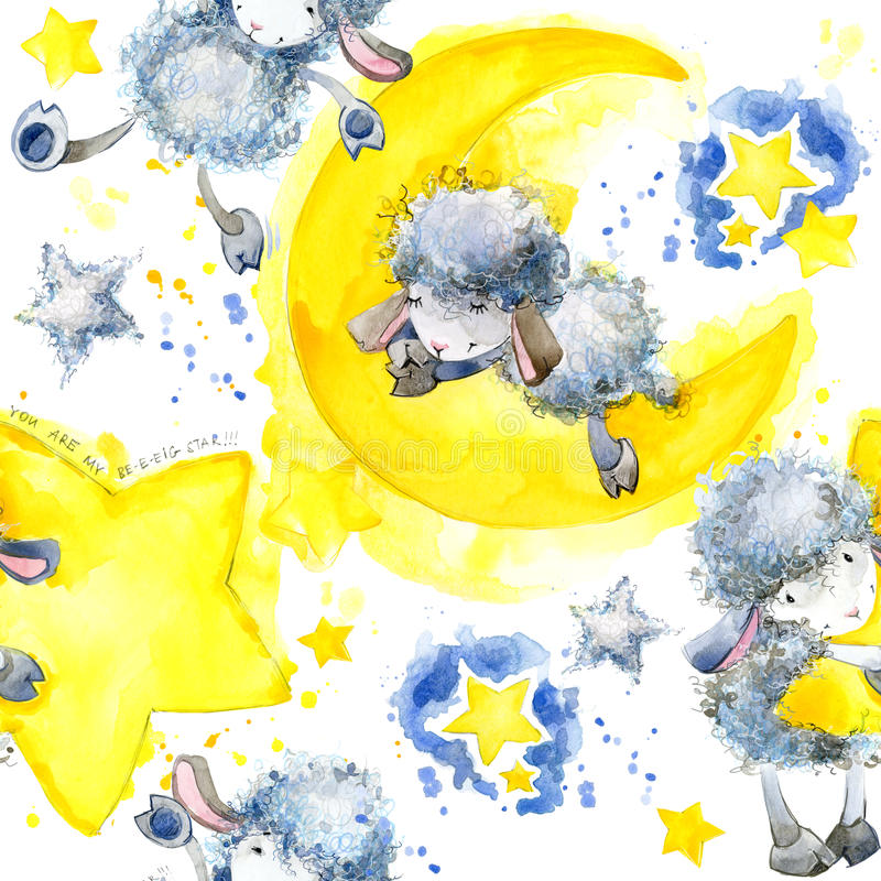 Leuke schapen Naadloos patroon met leuke Schapen en ster Schapen en Sterrenwaterverfachtergrond royalty-vrije illustratie
