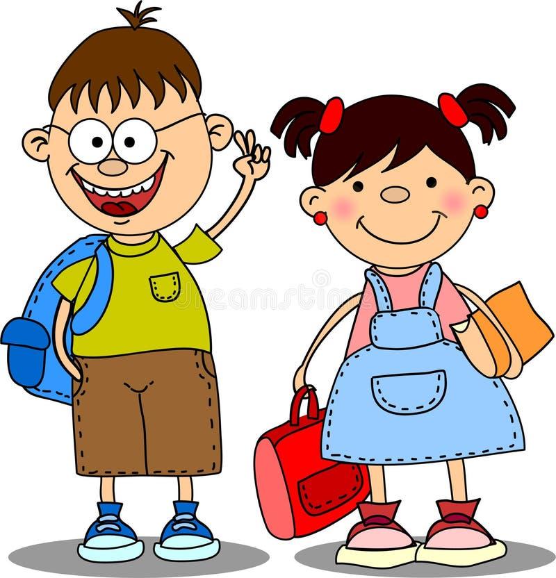 Leuke schooljongens en schoolmeisjes vector illustratie