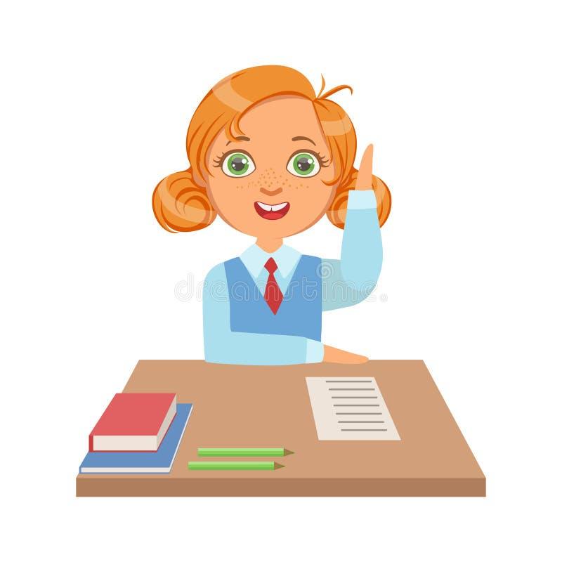 Leuke schoolmeisjezitting bij het bureau en het opheffen van haar hand aan antwoord, een kleurrijk karakter vector illustratie