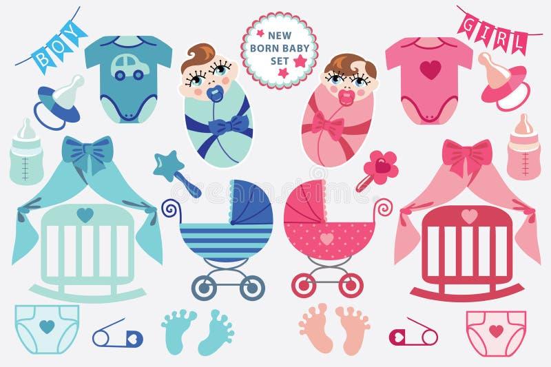 Leuke scrapbooking elementen voor pasgeboren baby vector illustratie
