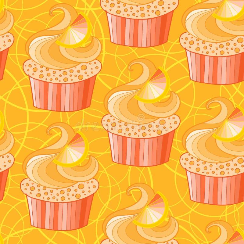 Leuke sinaasappel cupcake royalty-vrije illustratie