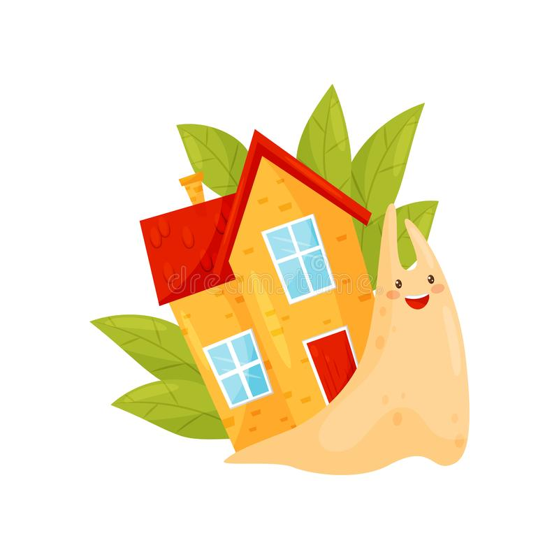 Leuke slak met comfortabel huis op zijn achter, grappige het karakter vectorillustratie van het weekdierbeeldverhaal op een witte stock illustratie