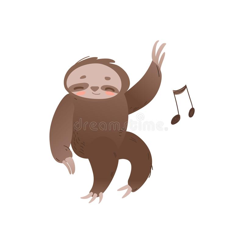 Leuke slaperige luiaard met gesloten ogen die en aan muziek ontspannen luisteren - aanbiddelijk wildernisdier met muzieknoot vector illustratie