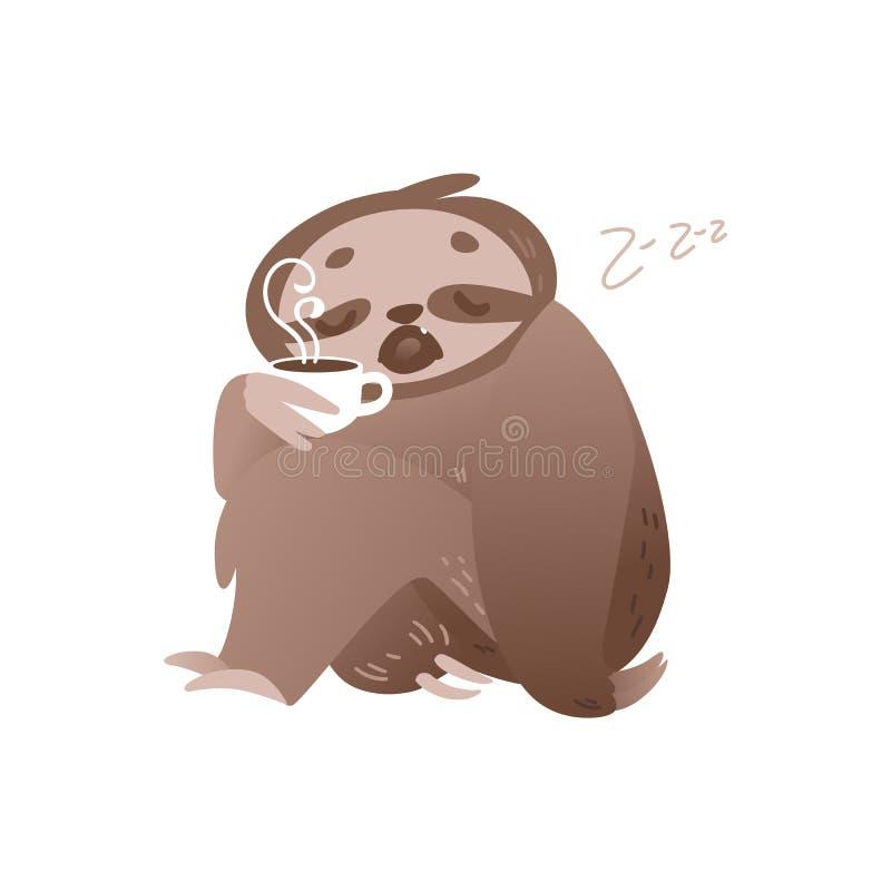 Leuke slaperige luiaard met kop van hete koffie voor ontwaken in ochtend of maandagconcept stock illustratie