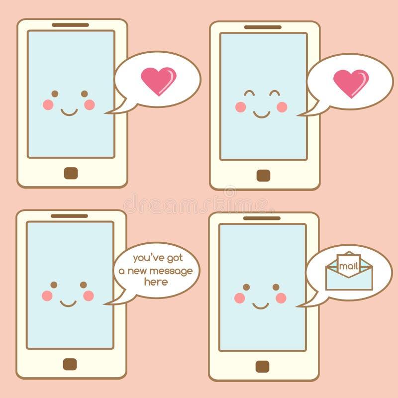 Leuke smartphonepictogrammen, ontwerpelementen Kawaii die mobiel telefoonkarakter met toespraakbellen en berichten, berichten gli vector illustratie