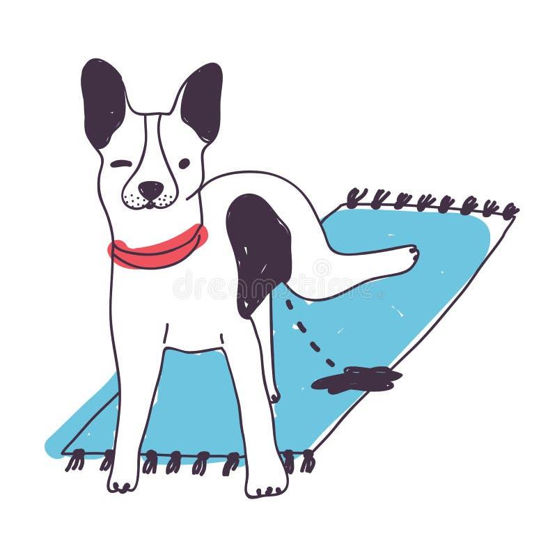 Leuke smerige hond die die op tapijt plassen op witte achtergrond wordt geïsoleerd Grappig puppy of thuis urineren het van een ho stock illustratie