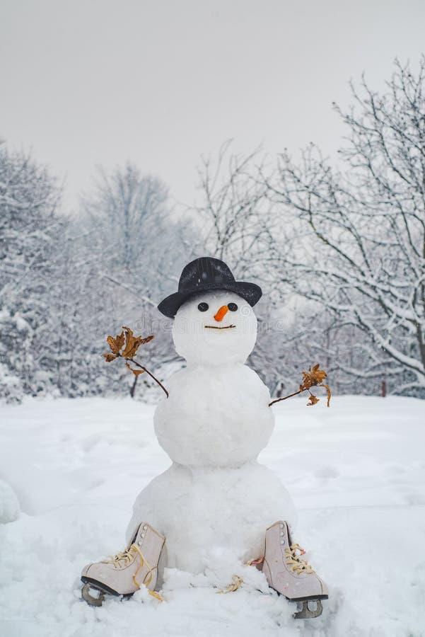 Leuke sneeuwman in hoed en sjaal op sneeuwgebied Sneeuwmannen Vrolijke Kerstmis en Gelukkig Nieuwjaar Grappige sneeuwmannen Sneeu royalty-vrije stock foto's