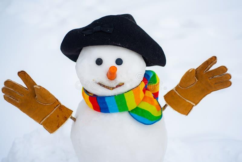 Leuke sneeuwmannen die zich in het landschap van de winterkerstmis bevinden Het nieuwe concept van jaarkerstmis De wintersc?ne me royalty-vrije stock afbeeldingen