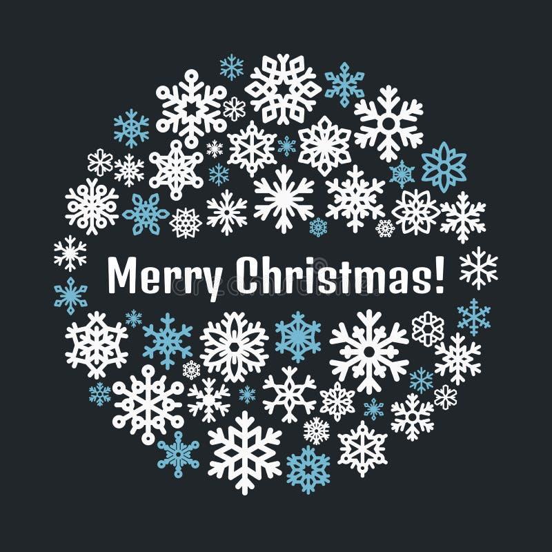 Leuke sneeuwvlokaffiche, banner Vlakke sneeuwpictogrammen, het silhouet van sneeuwvlokken De sneeuwvlokken van Nice voor Kerstmis vector illustratie