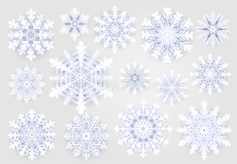 Leuke sneeuwvlokkeninzameling op grijze achtergrond De elementen van de Kerstmis holydays decoratie De sneeuwvlok van de sneeuwwi royalty-vrije illustratie