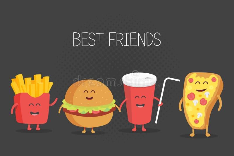Leuke snel voedselhamburger, soda, frieten en pizza royalty-vrije illustratie
