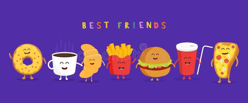 Leuke snel voedselhamburger, soda, frieten en pizza Zoete koffie, croissant, doughnut vector illustratie