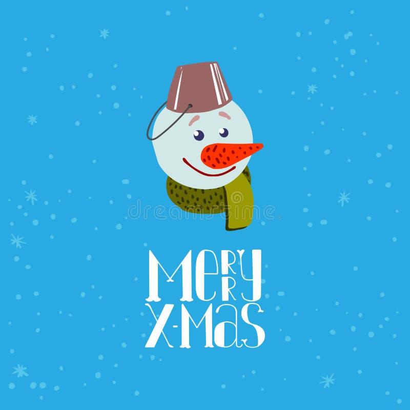 Leuke Snowmancartoon voor Vrolijke Kerstmis vector illustratie