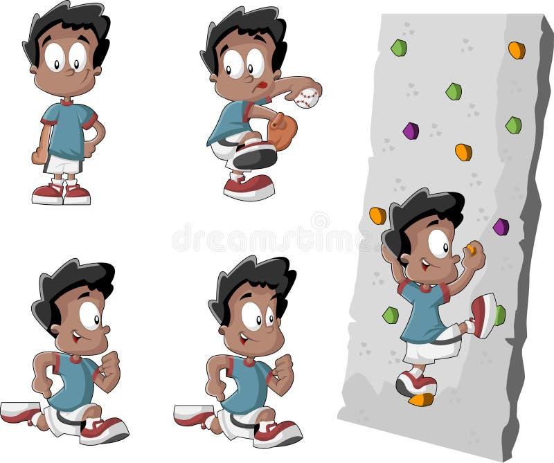 Leuke speelse beeldverhaal zwarte jongen stock illustratie