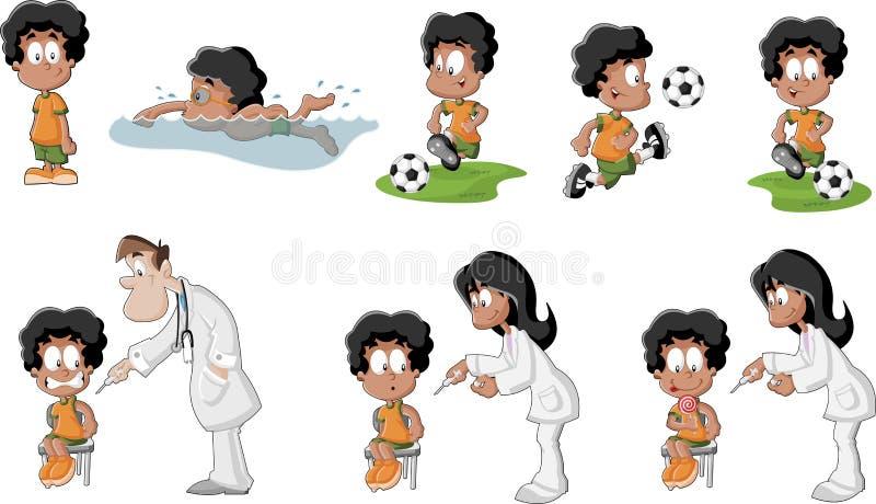 Leuke speelse beeldverhaal zwarte jongen vector illustratie