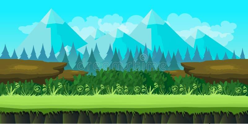 Leuke spelachtergrond van bergen en gras vector illustratie