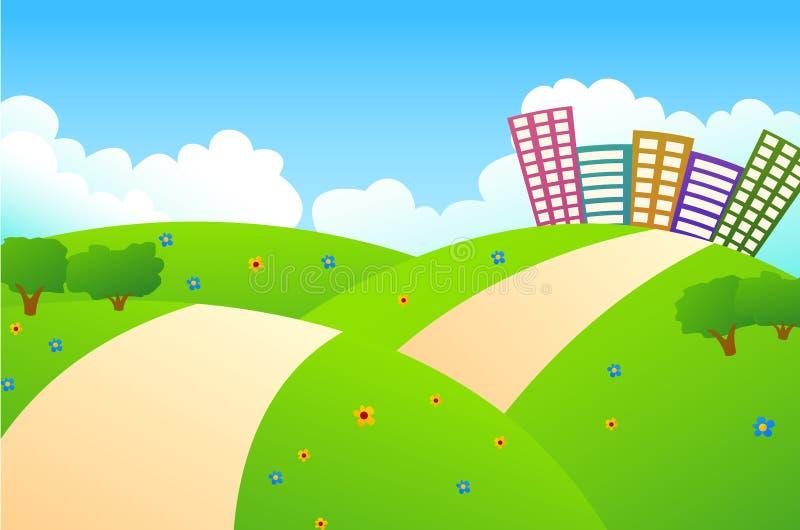 Download Leuke Stad En Groene Heuvels Vector Illustratie - Illustratie bestaande uit skyline, stad: 39100916