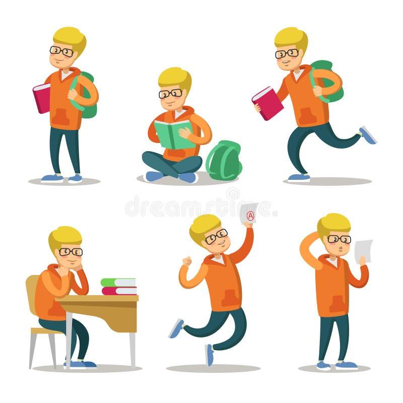 Leuke Student Cartoon Character Set Tiener met boek vector illustratie