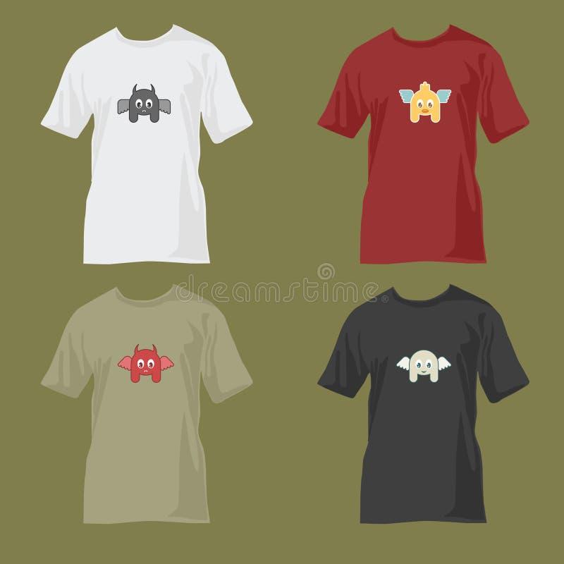 Leuke t-shirtontwerpen royalty-vrije illustratie