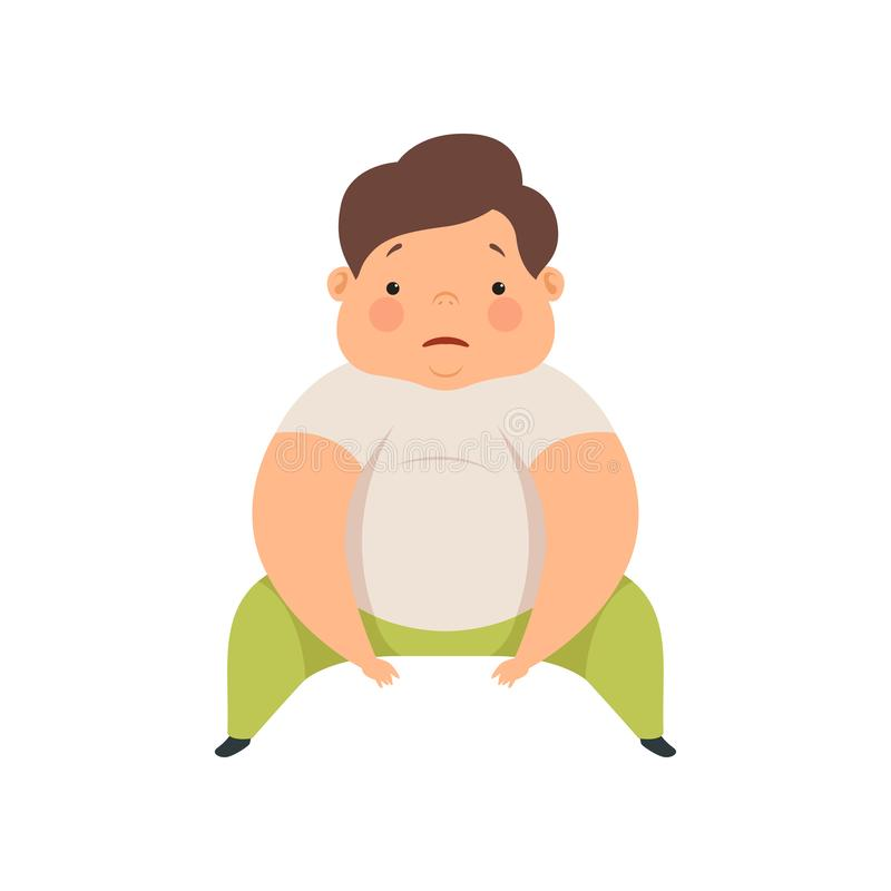Leuke te zware jongenszitting op de vloer, mollige het karakter vectorillustratie van het kindbeeldverhaal op een witte achtergro vector illustratie