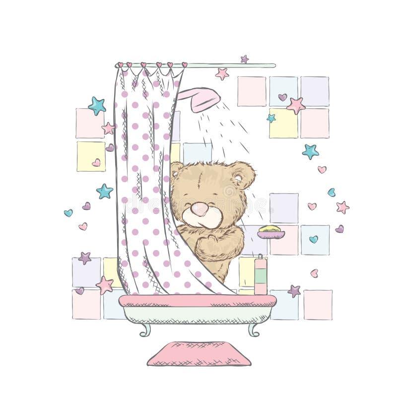 Leuke teddybeer bij hart Vector illustratie Draag zwemt in de badkuip stock illustratie