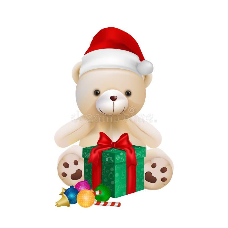Leuke teddybeer die op witte achtergrond voor vrolijke Kerstmiskaart, vector en illustratie wordt geïsoleerd vector illustratie