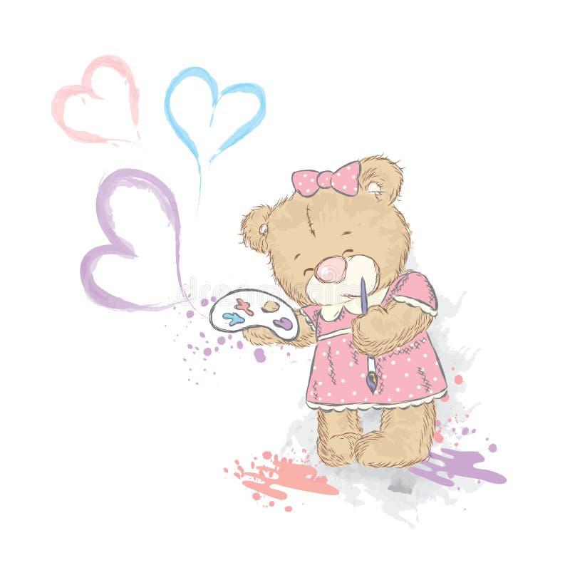 Leuke teddybeer in kleding Draag met palet en borstel royalty-vrije illustratie
