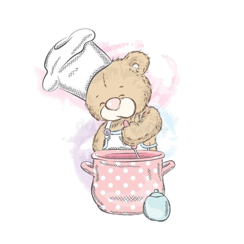 Leuke teddybeer met een steelpan Draag voorbereidt diner kok Vector illustratie vector illustratie