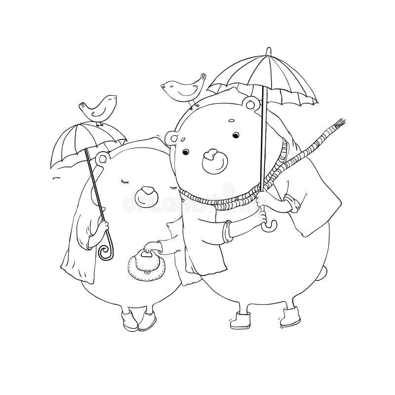 Leuke teddybeer onder een paraplu stock illustratie