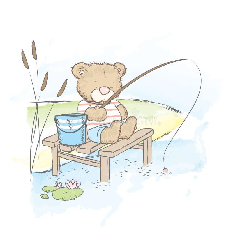 Leuke teddybeer visserij Draag met een emmer en een hengel royalty-vrije illustratie