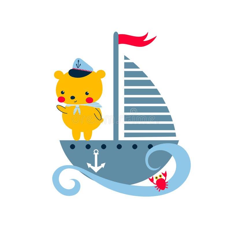 Leuke teddybeer in zeilboot stock illustratie