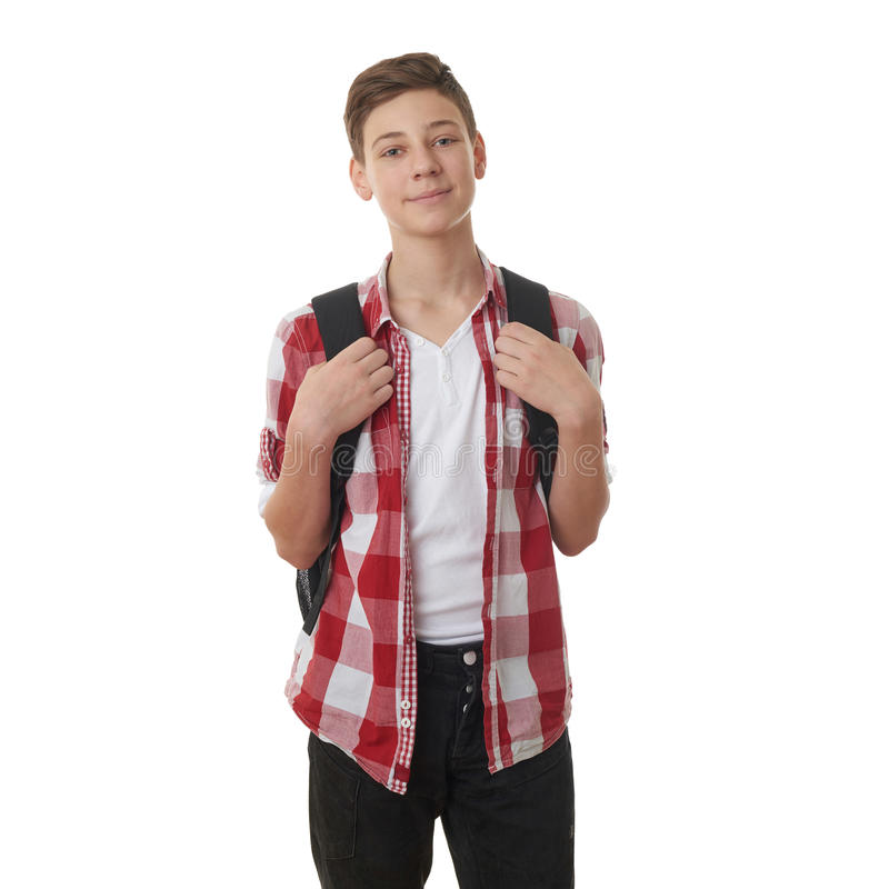 Leuke tienerjongen over wit geïsoleerde achtergrond stock afbeelding