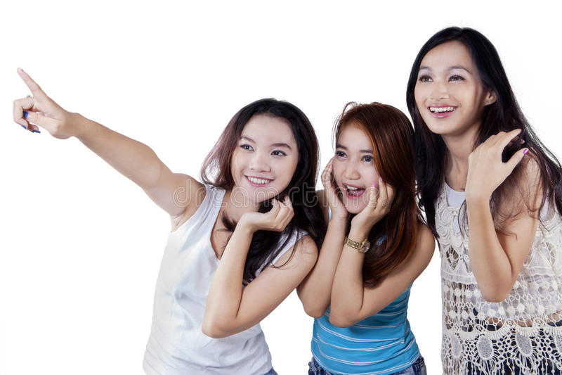 Leuke tieners die copyspace richten royalty-vrije stock foto's
