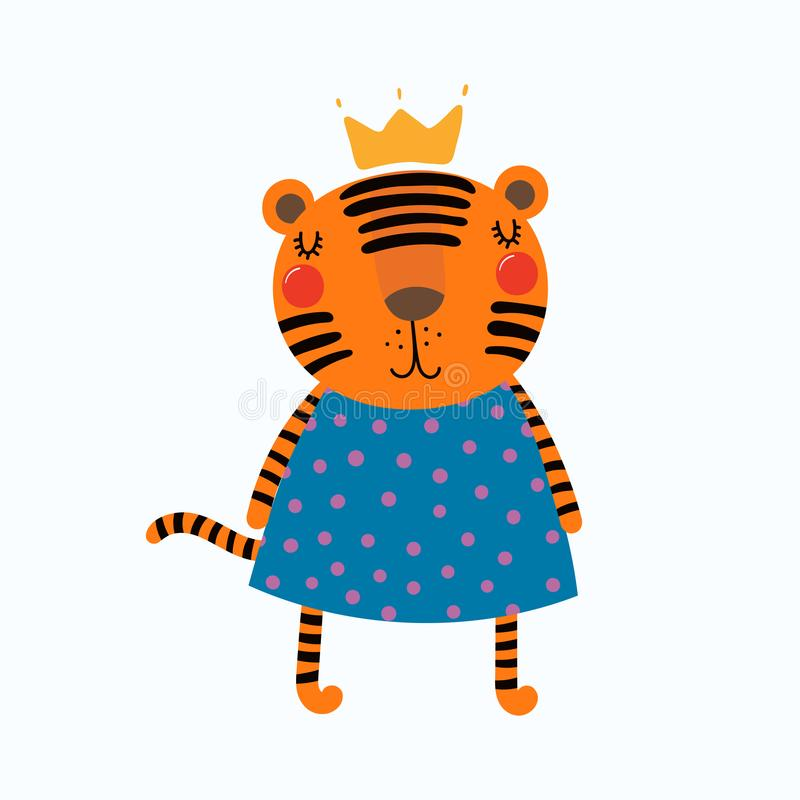 Leuke tijgerprinses stock illustratie