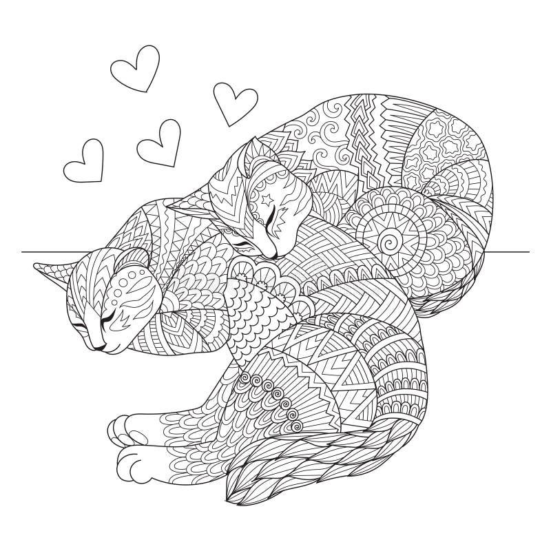 Leuke twee katten die voor kaarten, t-shirtontwerp, volwassen kleurend boek, kleurende pagina en druk op andere dingen slapen Vec royalty-vrije illustratie