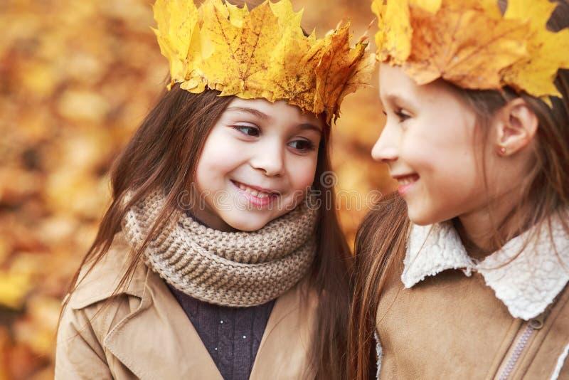 Leuke twee kleine zusters die met kroon van bladeren in de herfstpark koesteren stock fotografie