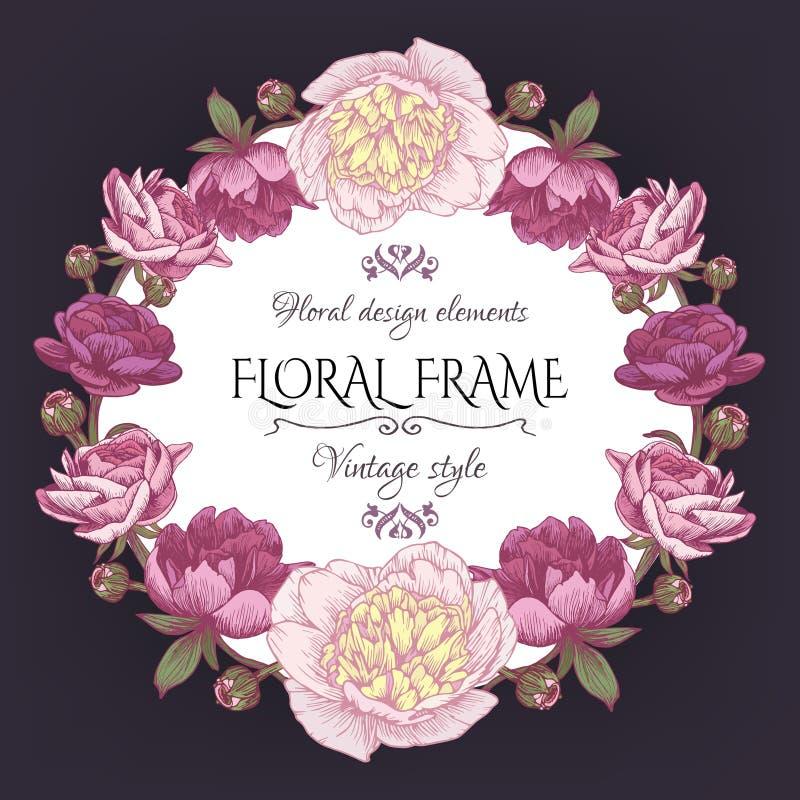 Leuke uitstekende bloemenkaart met een kader van pioenen en Perzische boterbloem Mooie kroon in sjofele elegante stijl stock illustratie