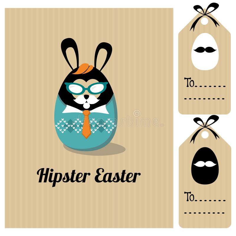 Leuke uitstekende Pasen-kaart met manier hipster bunn stock illustratie