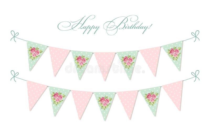Leuke uitstekende sjofele elegante textielbunting markeert ideaal voor babydouche, huwelijk, verjaardag royalty-vrije illustratie