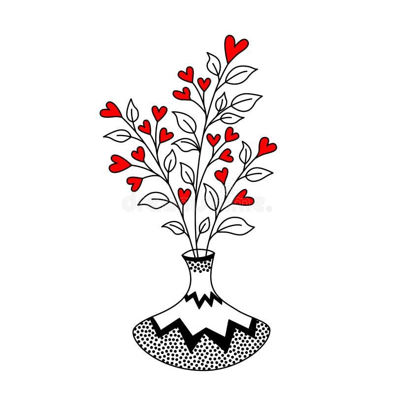 Leuke vaas met decoratieve bladeren en harten royalty-vrije illustratie